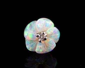Beautiful Opal & Diamond Flower Gold Earrings