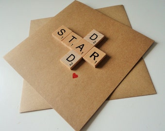 Fathers Day Card - Cards dad - Dad Birthday Card - Scrabble Card - Star Dad - Dad Card - Fathers Day - Dad from daughter - Dad from son