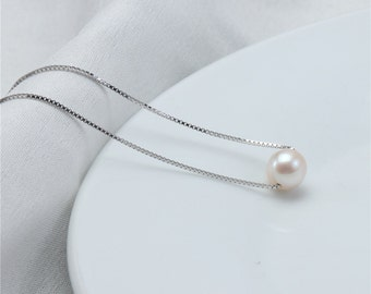 Floating Pearl Pendant Necklace, Single Pearl Pendant,Natural White Freshwater Pearl Pendant Design,100% Real Cultured Round pearl Pendant