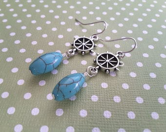 Turquoise Magnesite Ovals and Silver Ship's Wheel Earrings