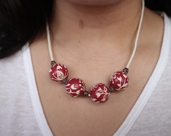 Red Like Cherries/ Wood Necklace/Wooden Beads