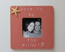 Engaged Picture Frame, Coral Frame, Starfish Photo Frame, Beach Picture Frame