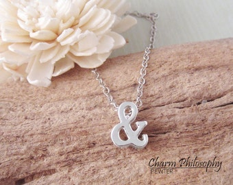 Ampersand Necklace - And Symbol Charm - Silver Plated Jewelry - Alphabet Character Charms