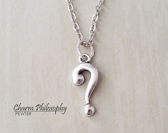 Question Mark Necklace - Antique Silver Jewelry - Punctuation Charm