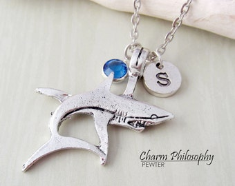 Shark Necklace - Antique Silver Reversible Shark Charm - Monogram Personalized Initial and Birthstone