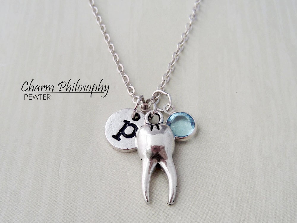 tooth necklace dentist jewelry dental hygenist gift