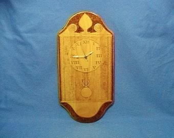 Woodburned wall clock, wall cabinet clock, clock wood art