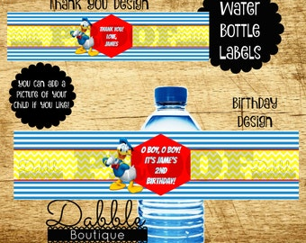 Donald Duck Water Bottel Labels / Donald Duck Birthday Water Bottle Wrappers