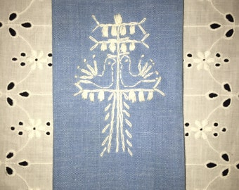 Blue and White Embroidered Tea Towel Birds in Tree