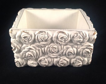 Cottage Chic Rose Pattern Box Chalk Painted White Lightly Distressed Ceramic