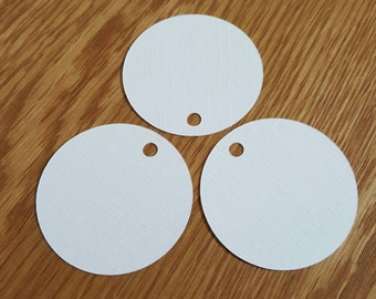 20 White Circle Tags | Gifts Tags | Price Tags | Scrapbook Embellishments | Card Toppers | Handmade Labels | Stamping |Linen Texture