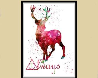 Harry Potter, Stag Patronus, Red deer, watercolor print, watercolor painting, aquarelle, colorful (1100b)