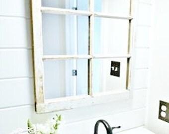 Wood Window Bathroom Mirror Wood Window Mirror Frame 6 Pane Vintage Bathroom Mirror