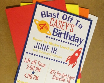 Blast Off Party Invintations, Space Party Invites Set of 10