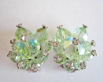Vintage Green Aurora Clip Earrings