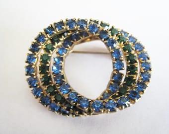 Tripple Circle Blue Rhinestone Pin