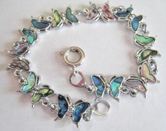 Faux Abalone Butterfly Bracelet