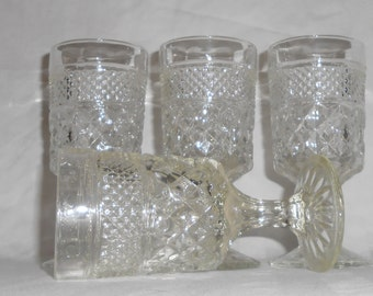 Vintage Anchor Hocking Wexford Clear Cut Glass Water Goblets set of 4