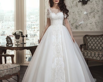 Romantic Handmade Wedding Dress with Long Illusion Sleeves, Illusion Neckline, Long Tulle Train, Decorated by Hand