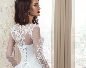 Sale, Elegant, White/Ivory, Lace Up Wedding Dress Features Floral See Through Illusion Neckline, Long Sleeves