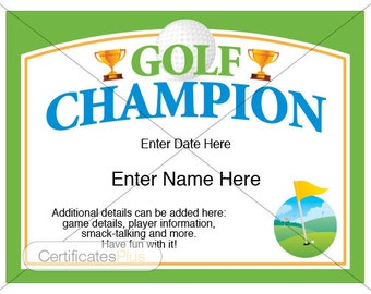 Golf Certificate, Golf award template, golf trophy, father's day gift, golf gifts, golf gifts for men, golf gifts for women, golf lover