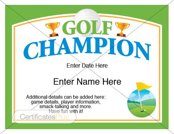 Golf Certificate, Golf Award Template, Golf Trophy, Fatheru0027s Day Gift, Golf  Gifts, Golf Gifts For Men, Golf Gifts For Women, Golf Lover  First Place Award Template