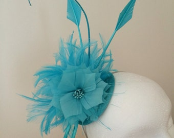 Lagoon blue fascinator, wedding, day at races