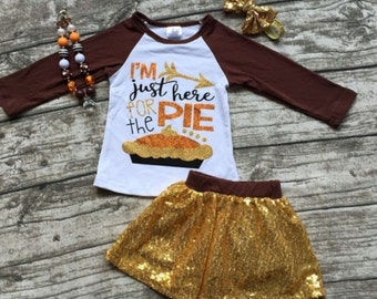 Im Just Here for the Pie Outfit 12 months up to size 7 girls includes all