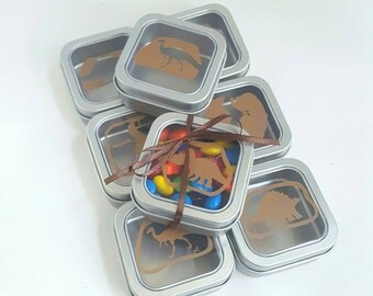 Favor Tin - Dinosaur favor tin - set of 8 - Dinosaur Party - Fossil - boy birthday- candy box - dinosaur fossil party - clear lid with decal