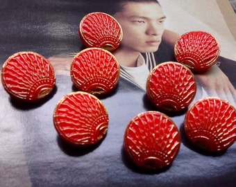 Beautiful pattern - Sun - hand painted 8 / glass buttons-