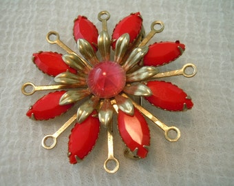 Vintage Brooch ~ Red ~ Brooch ~ Gold Toned ~ Jewels ~ Jewelry ~ Gift ~ Flower ~ Pin