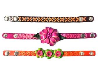 Genuine Leather Bracelet, Flowers Leather Bracelet, Floral Bracelet, HFF150955