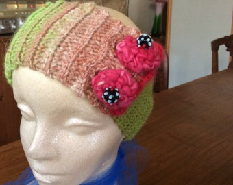 Crocheted cashmere angora headband and neck warmer