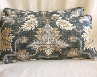 Two Designer Lumbar Pillows - Old World Design - Thibaut Fabric - Gray/ Tan/ White - 12x20 Covers