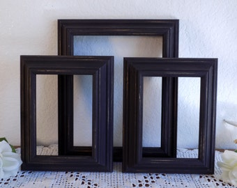 Black Picture Frame Set Photo Decoration Rustic Shabby Chic Distressed Up Cycled Vintage Wood Country Farmhouse Man Cave Home Decor Gift Him