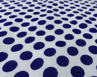 """Indian Pure Cotton White Base Fabric Polka Dot Printed Pattern Sewing 42"""" Wd Cotton Crafting Sewing Pillow Curtain Fabric By 1 Yard ZBC3442"""