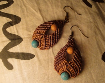 Macrame Earrings with Turquoise stone