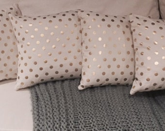 Gold Polka Dotted White Pillows