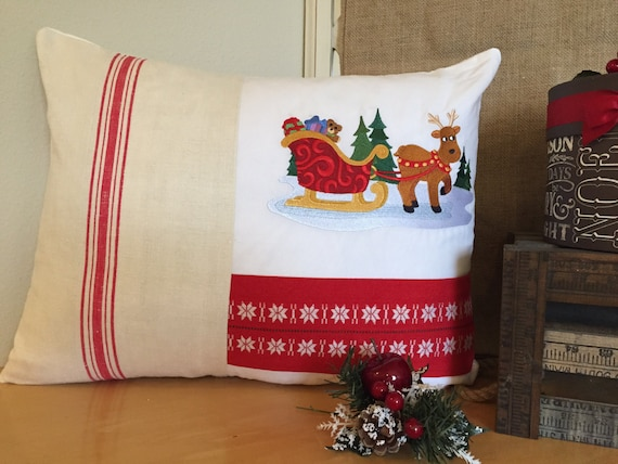 Scandinavian Christmas Pillow : Items similar to CHRISTMAS Swedish Pillow, Holiday Vintage Scandinavian Fabrics Embroidered ...