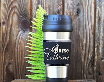 Travel mug, Leather Travel Mug, Leather Coffee Mug, Personalized Travel Mug, Personalize Coffee Mug, Coffee Mug, Custom Travel Mug, Nurse