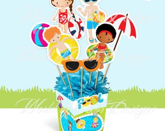 "Printable Centerpiece "" Pool Party"" (Instant download)"