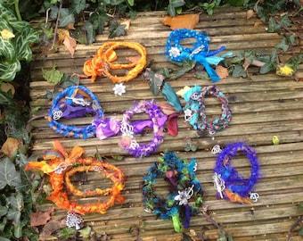 OOAK stunning sari silk Yoga charm bracelets