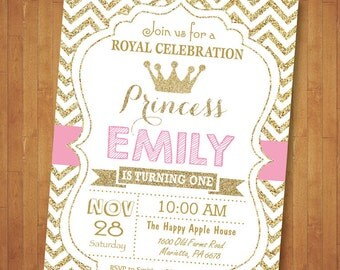 Princess Birthday Invitation. Pink and Gold Birthday Invite. Our Little Princess. Gold Glitter Chevron. Girl Birthday. Printable Digital.