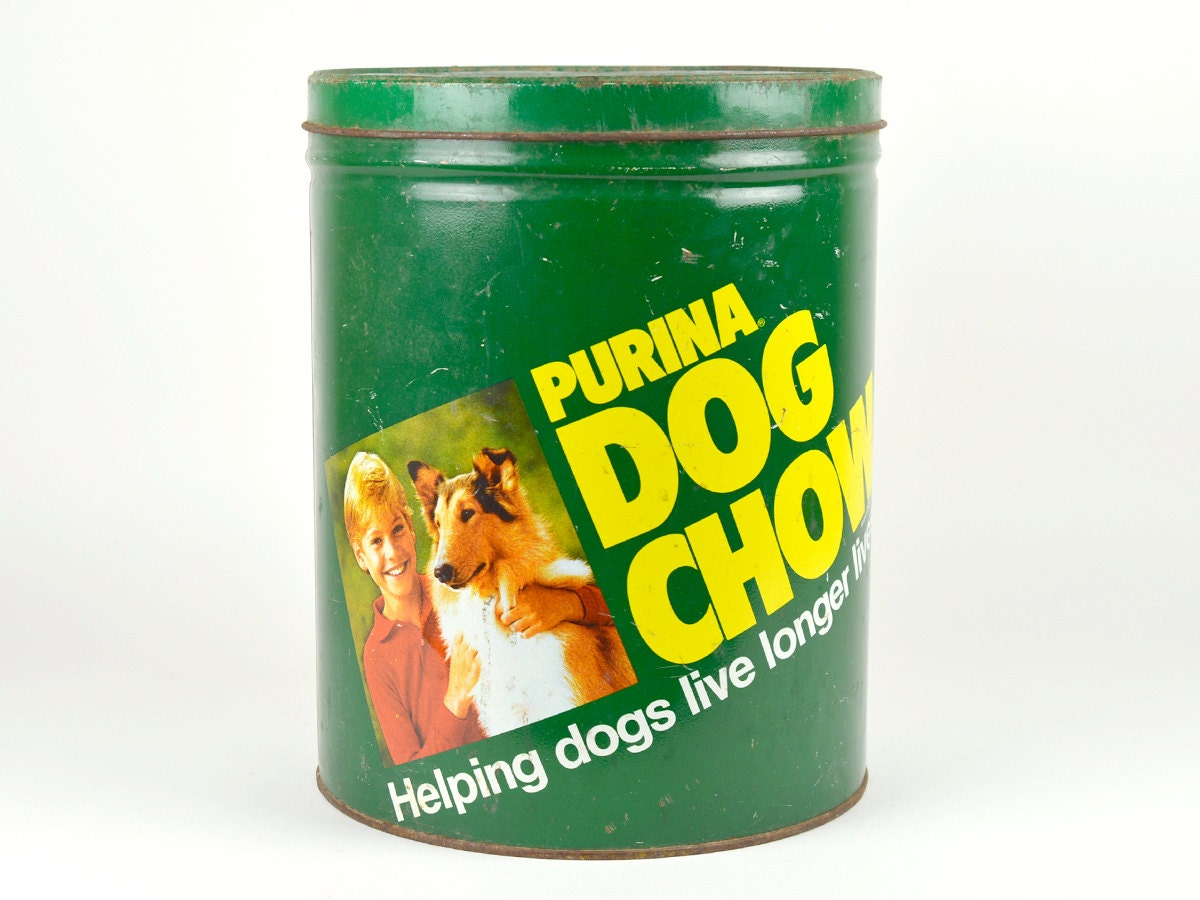 vintage purina dog chow pet food tin container puppy green