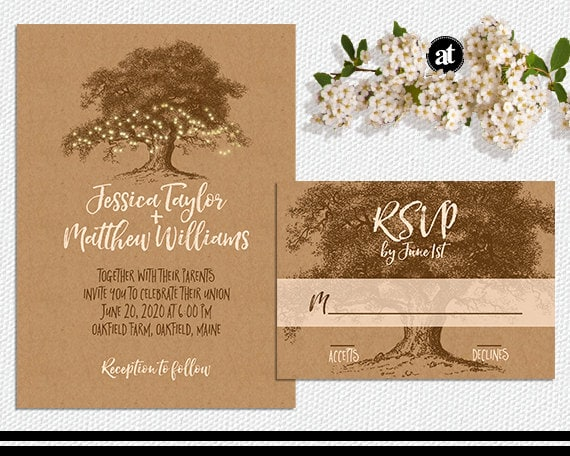 Rustic Fall Wedding Invitations: Rustic Fall Wedding Invitation Kit Or Printable By AisleTime