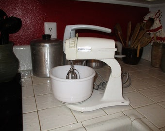 Vintage white Dormeyer mixer with milk glass mixing bowl and original beaters