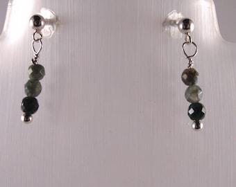 Gemstone earrings.  Fancy Jasper 925 Sterling Silver earrings