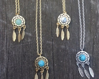 Dreamcatcher stone charm necklace