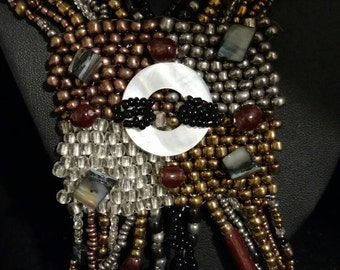 Warm Tones Abstract Beaded Necklace