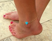 Opal Anklet / Heart Opal anklet / Gold Bracelet / Foot Jewelry/ Bridesmaid gift/ Charm Anklet/ Dainty Anklet / Gift For Her
